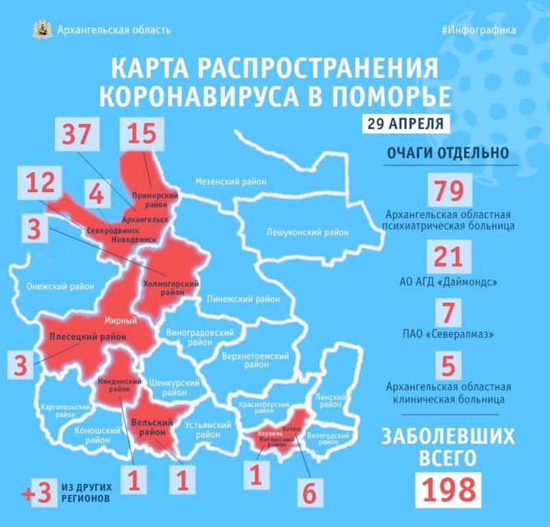 Карта распространения коронавируса по районам Архангельской области
