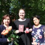 Екатерина Десятовская - ученица Березниковской средней школы - единственная в Виноградовском районе за 11 лет отличного обучения награждена медалью